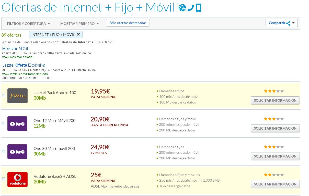 Las ofertas ADSL y móvil más baratas