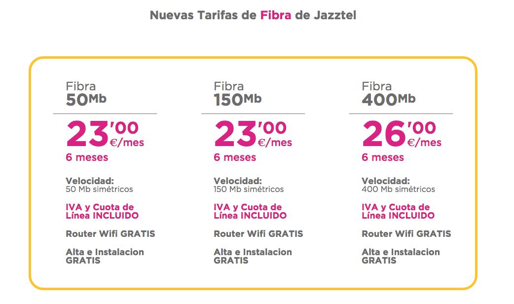 Nuevas tarifas Fibra Jazztel