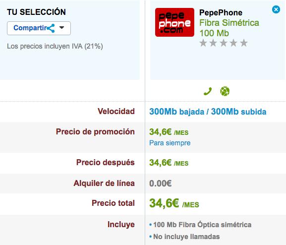 Pepephone Fibra 100 Mb