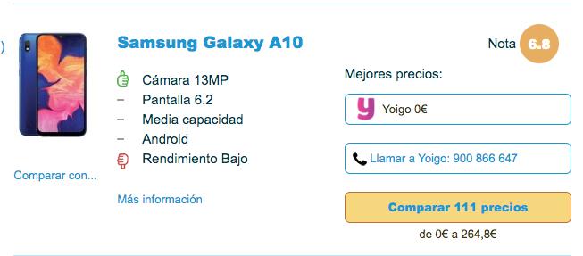 Samsung Galaxy A10 gratis con Yoigo